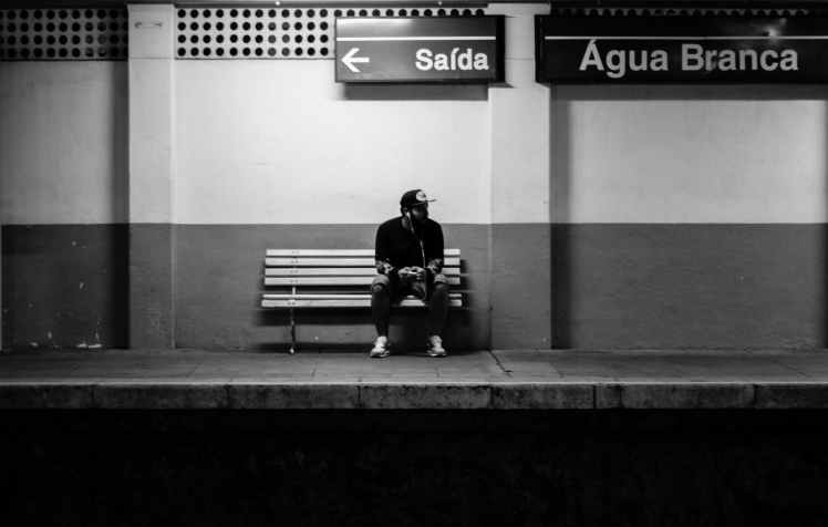 adult alone bench black and white
